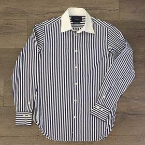 Faconnable Men's Blue Bengal Stripe Dress Shirt